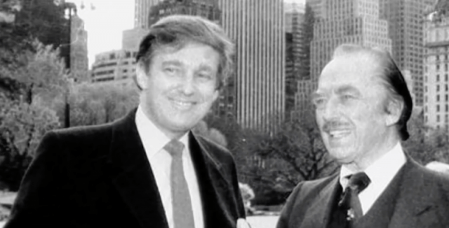 Donald Trump smiling while standing next to his father.
