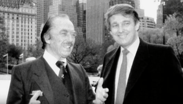 Donald Trump and his father posing in New York.