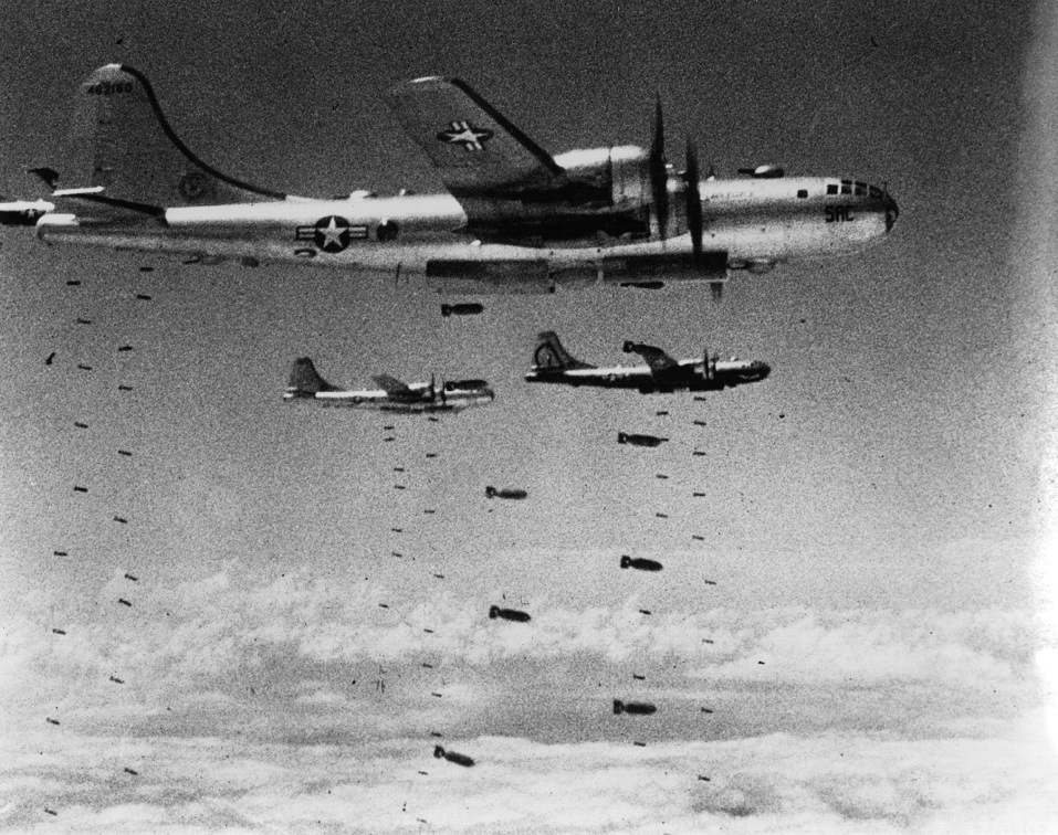 US Air Force B-29 Superfortresses dropping bombs on a strategic target during the Korean War