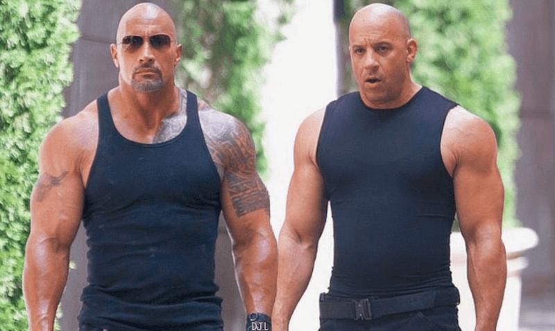 Dwayne Johnson and Vin Diesel in The Fate of the Furious