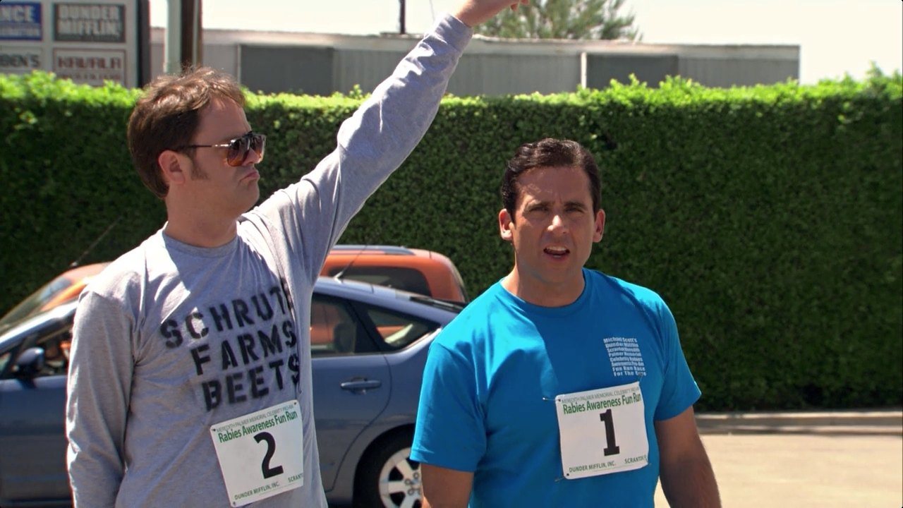 Dwight Schrute beet farmer and Michael Scott from The Office