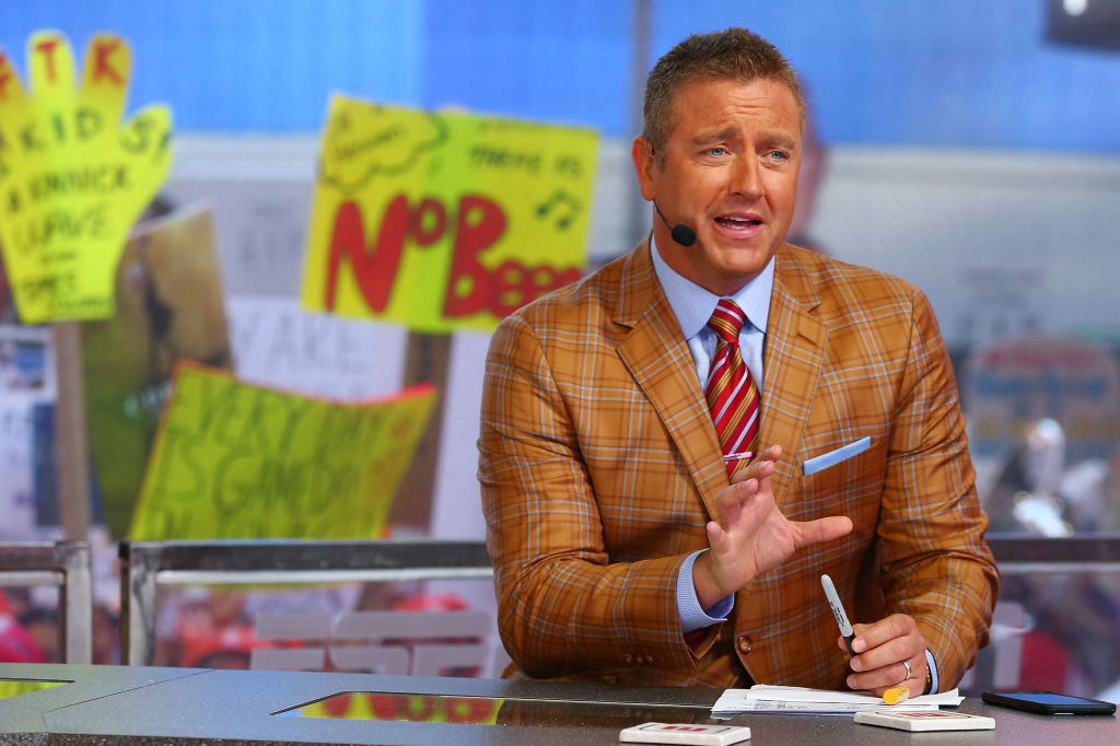 GameDay host Kirk Herbstreit is seen during ESPN's College GameDay show at Times Square