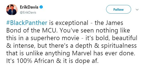 Erik Davis says Black Panther is the James Bond of the MCU.