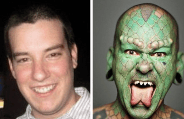 The Lizardman before and after.