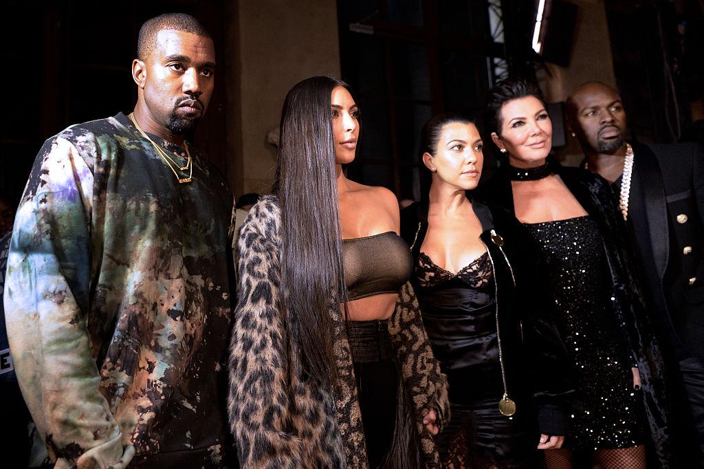Kanye West, Kim Kardashian, Kourtney Kardashian, Kris Jenner and Corey Gamble attend the Off-white 2017 Spring/Summer ready-to-wear collection fashion show