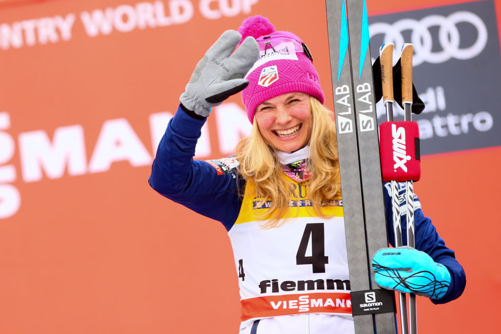 Jessica Diggins of USA takes 3rd place during the FIS Nordic World Cup Women's CC 9 km