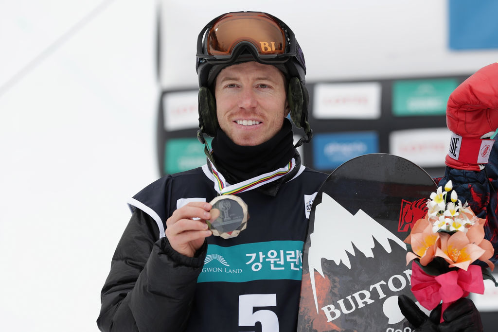 Shaun White from USA in second place in the FIS Snowboard World Cup