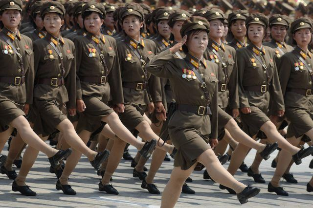 North Korean military students marching in uniform.