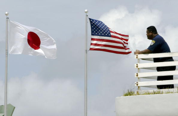 Japanese and American flag