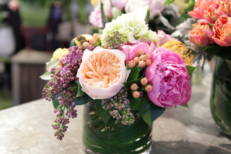 Spring time bouquet of cut flowers in vase