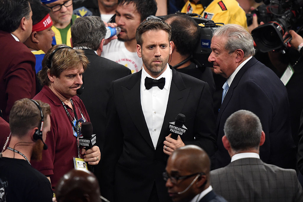 Broadcaster Max Kellerman stands in the ring after Floyd Mayweather Jr. defeats Manny Pacquiao by unanimous decision