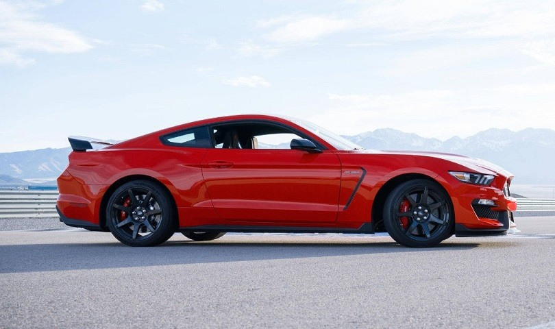 Profile view of red Shelby GT350, 2018 model year