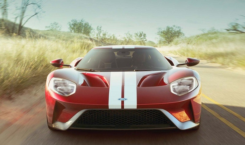 Front view of 2017 Ford GT in Lemans red with white racing stripe