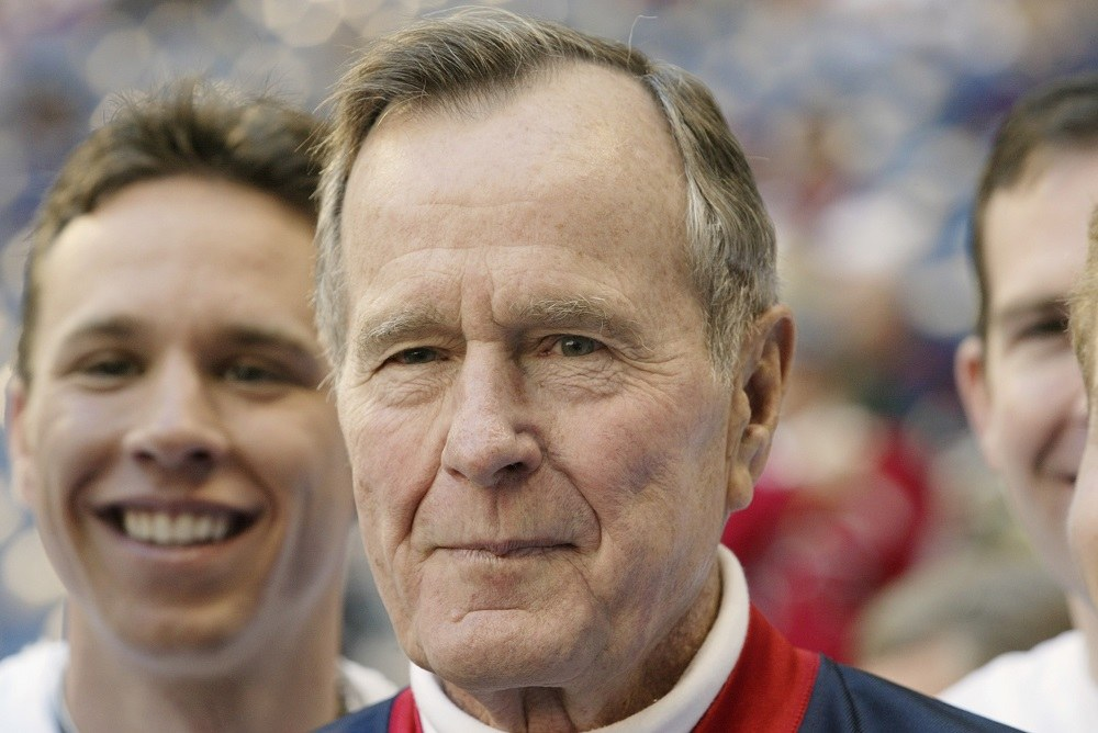 Former President George Bush is present at the game between the Jacksonville Jaguars and the Houston Texans
