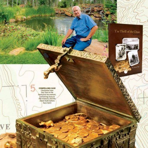 A photo of photos mixed together showcasing a treasure chest, old man, and treasure map