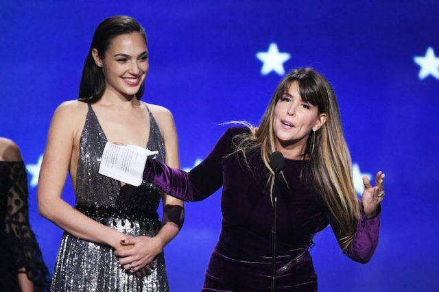 Patty on stage with Gal Gadot.