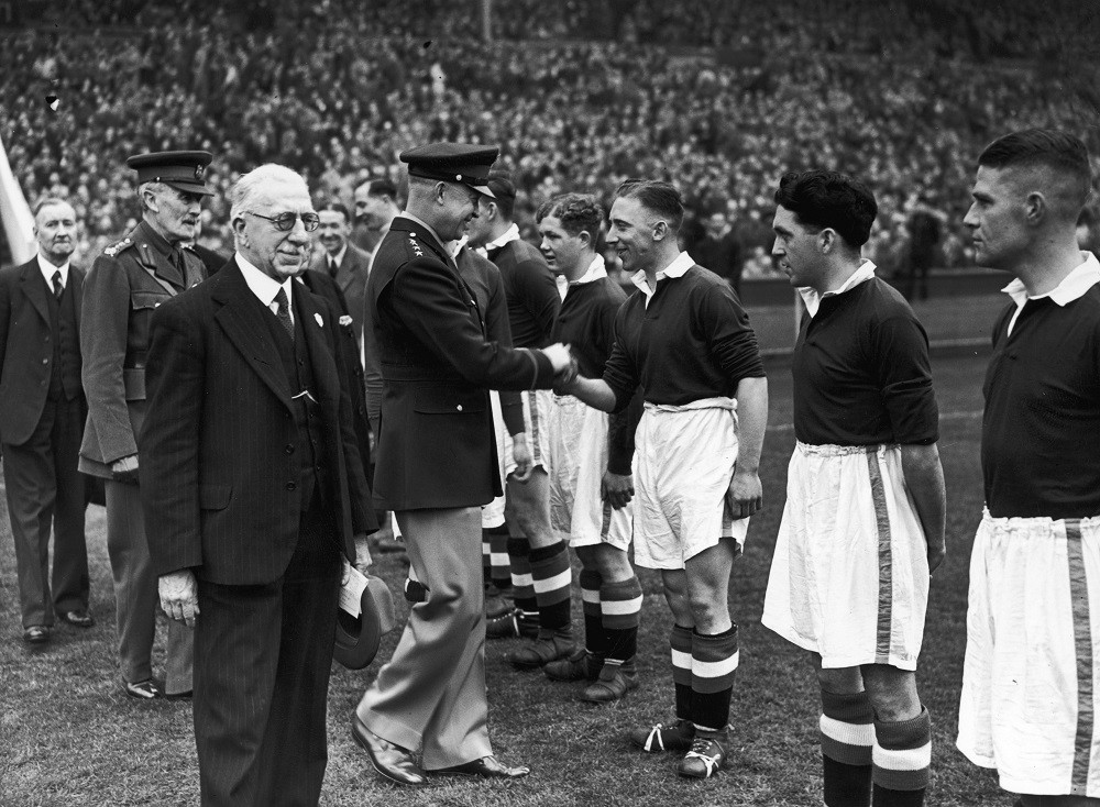 General Dwight D Eisenhower meeting the Chelsea team before the South Cup Final