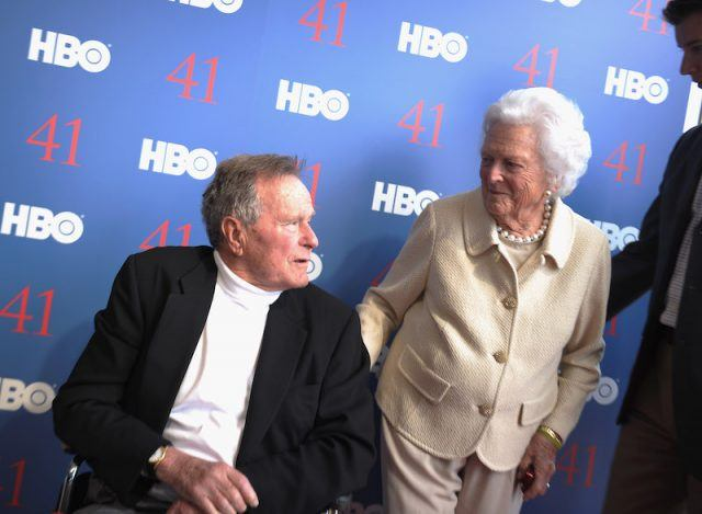 George H.W Bush and his wife at a media event.