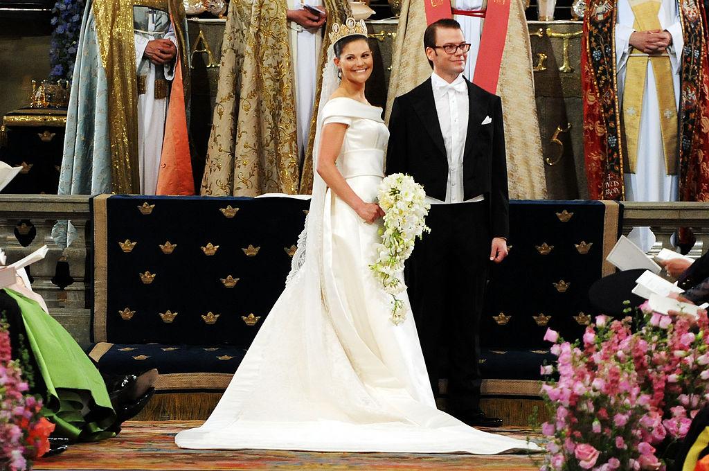 Crown Princess Victoria of Sweden, Duchess of Västergötland, and her husband Prince Daniel, Duke of Västergötland, are seen during their wedding ceremony on June 19, 2010 in Stockholm, Sweden.