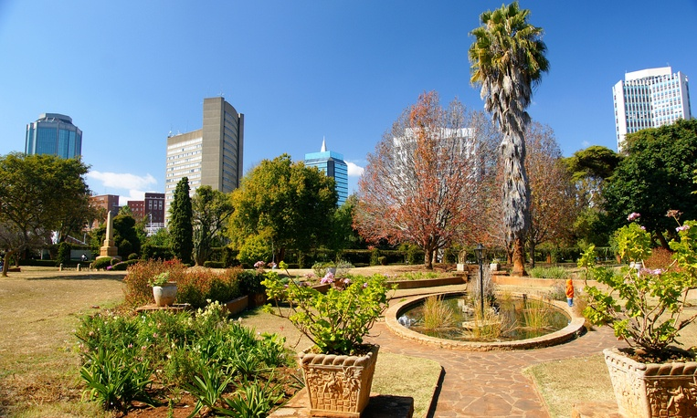 City of Harare viewed from the Harare Central Park, Harare, Zimbabwe