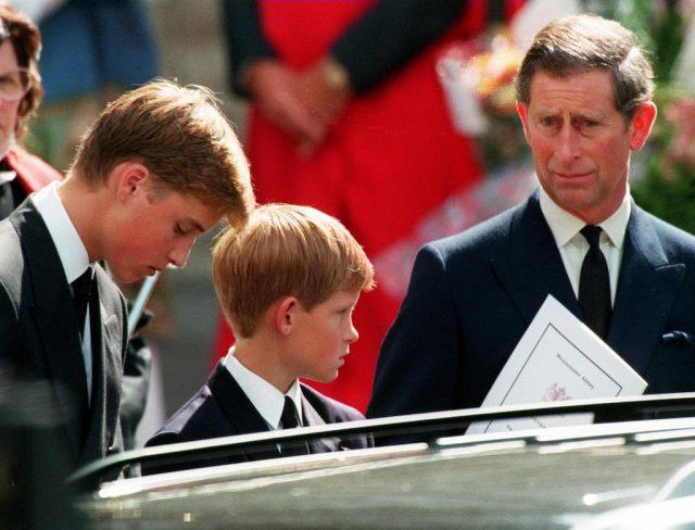 Prince Charles, Prince William and Prince Harry in front of a car.