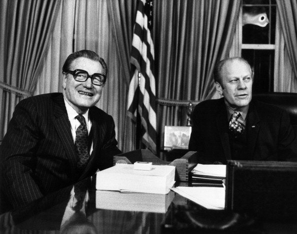 New vice president Nelson Aldrich Rockefeller (L) during his first working session with President Gerald Ford at the White House