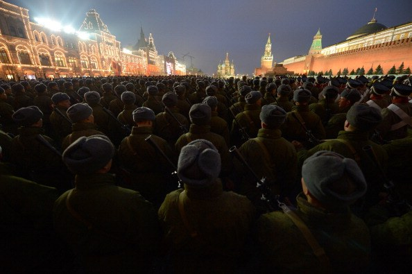 Russian soldiers participate in a military parade on Red Square in Moscow.