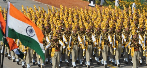 Indian soldiers march down the ceremonial boulevard Rajpath during the Republic Day parade in New Delhi.