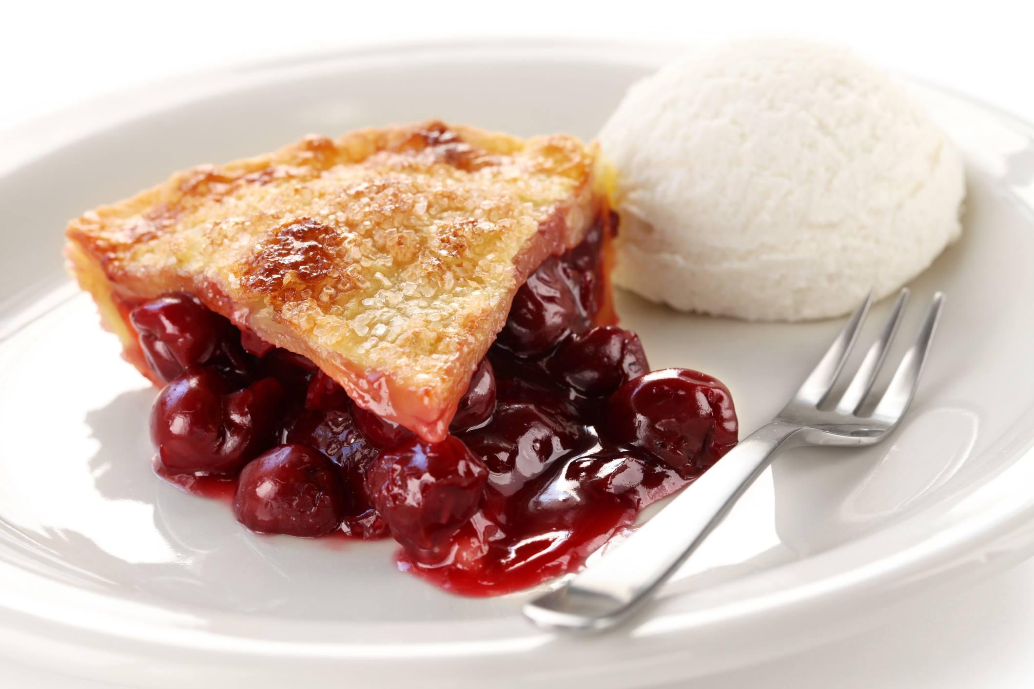 cherry pie slice with ice cream