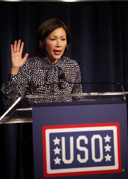 ann curry at a USO podium