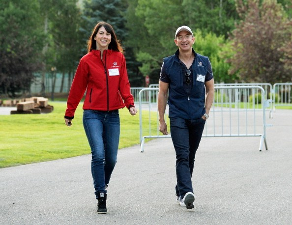 Jeff Bezos, founder and CEO Amazon.com, and his wife Mackenzie Bezos arrive for morning session of the Allen & Co. annual conference at the Sun Valley Resor