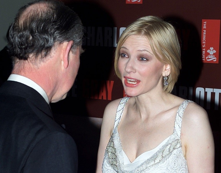 Prince Charles of Wales meets Australian actress Cate Blanchett at the premiere of her film Charlotte Gray at the Odeon cinema in London's Leicester Square, 19 February 2002.