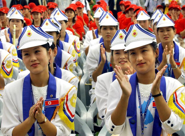 North Korean cheering squad applause during the welcoming ceremony in Daegu
