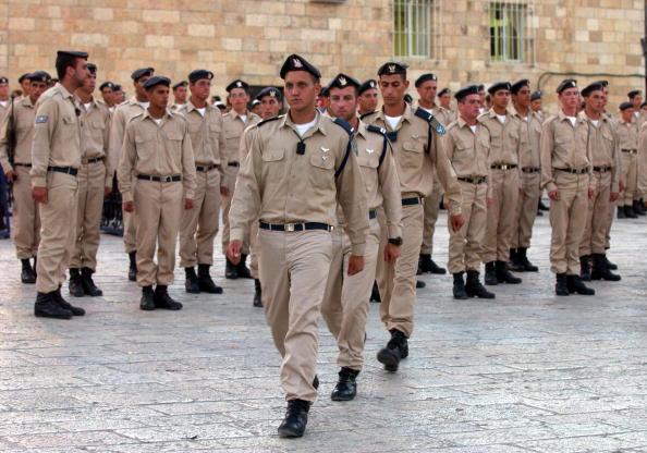 Israeli Air Force cadets practice marching before being sworn in for duty at a Western Wall ceremony.