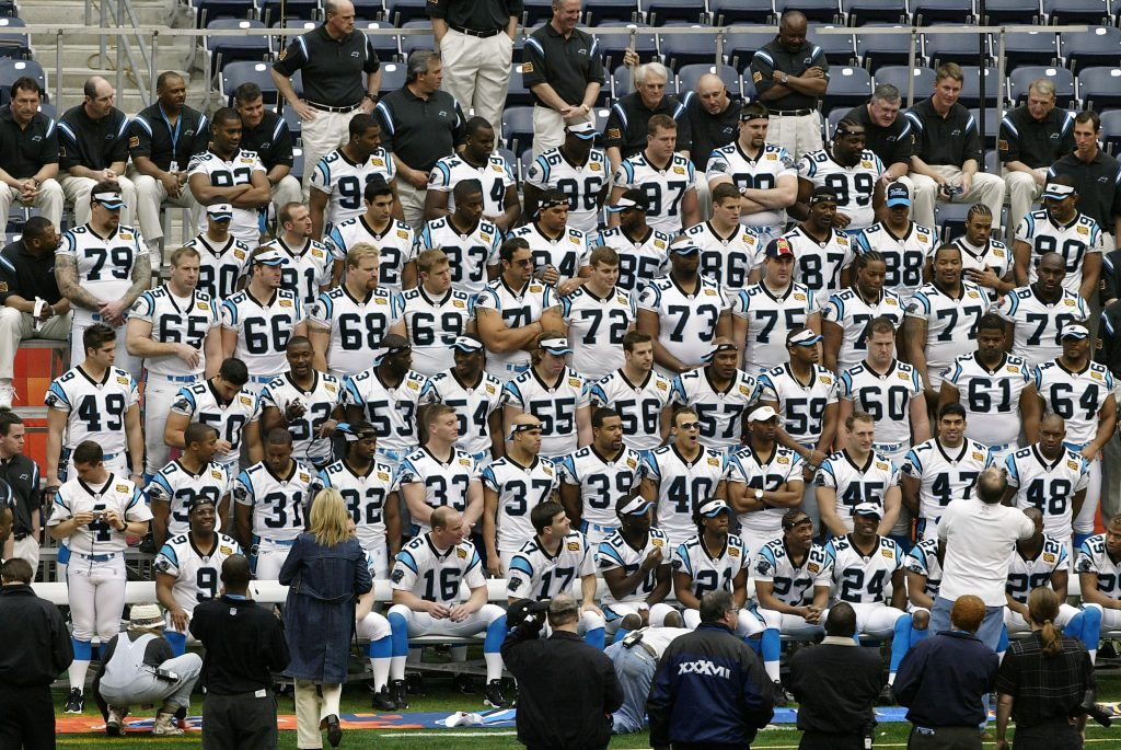 The Carolina Panthers prepare for a team photo on media day