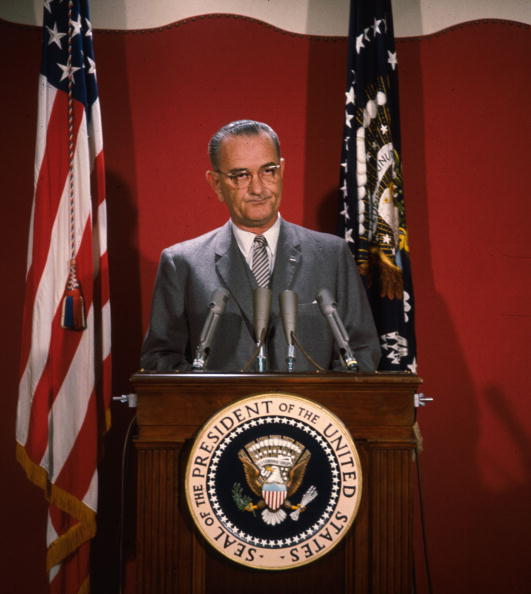 lyndon b johnson giving a speech