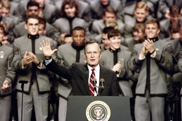 president bush speaks to cadets during his last speech as president