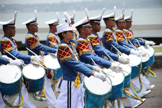 Indonesia National Military Academy cadets marching band perform during The 69th Republic of Indonesia Military Anniversary