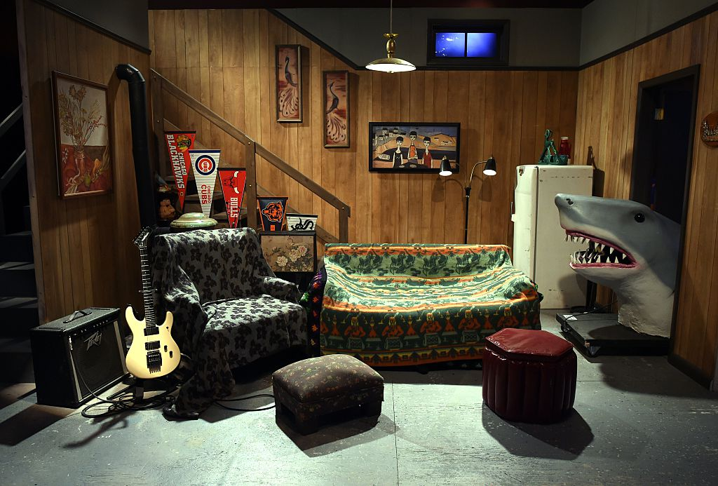 The Saturday Night Live Wayne's World set is on display during a media preview on May 29, 2015, at the Saturday Night Live: The Exhibition, celebrating the NBC programs 40-year history.