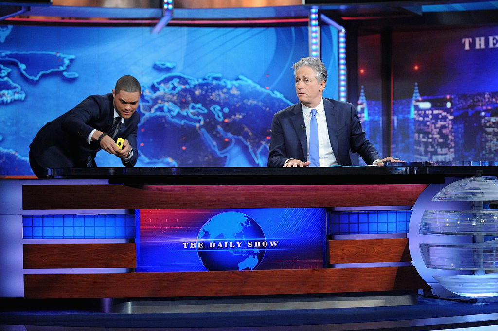 "Trevor Noah and host Jon Stewart appear on ""The Daily Show with Jon Stewart"" #JonVoyage"
