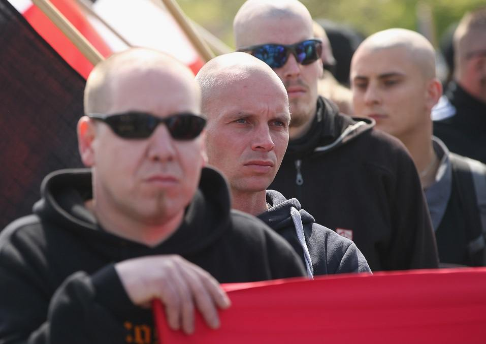 Skinhead supporters of the far-right NPD political party