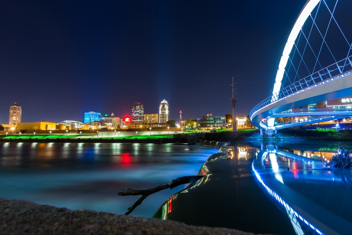 Here we have the Des Moines Skyline, Iowa Women of Achievement bridge and the river all in one great night shot