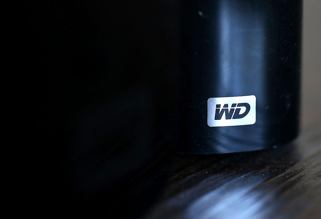 the WD logo on a black hard drive