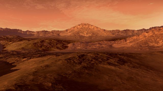 Mars-like red planet with arid landscape, rocky hills, and mountains