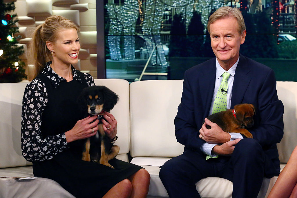 Beth Stern, Steve Doocy and four furry friends from the North Shore Animal League appear on Fox & Friends