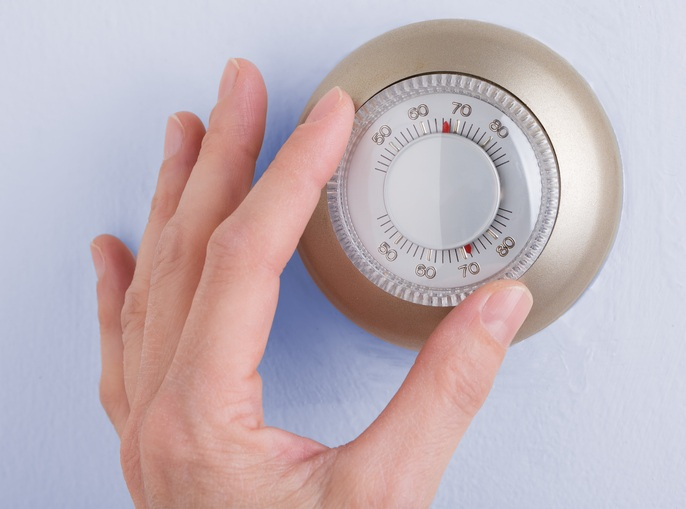 Room wall temperature thermostat turn dial to set