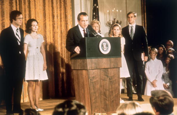 Richard Nixon at the White House with his family after his resignation as President