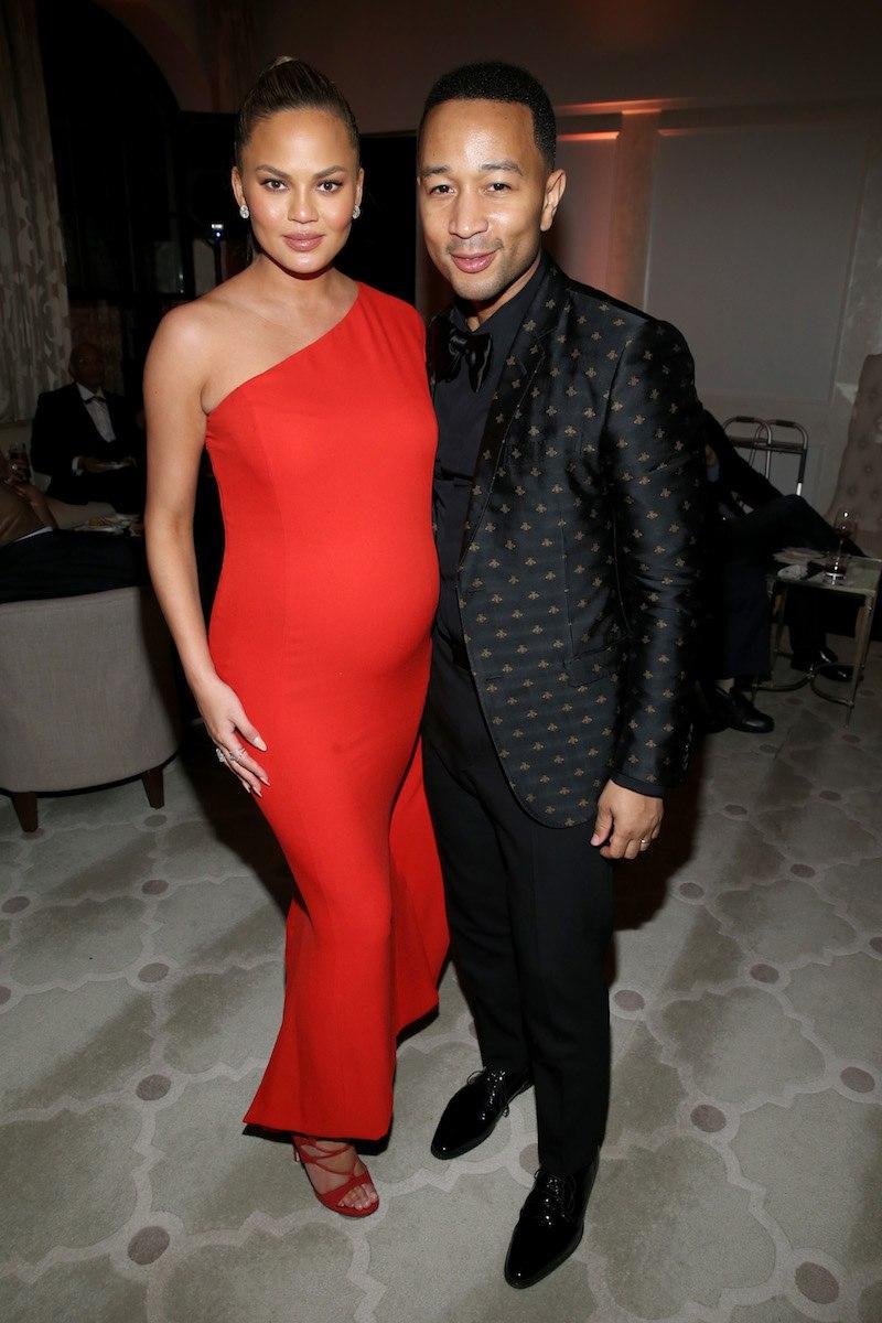 Model Chrissy Teigen (L) and recording artist John Legend attend Sony Music Entertainment 2016 Post-Grammy Reception