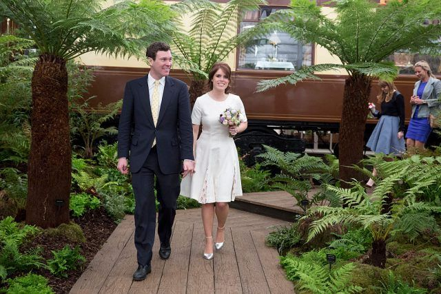 Princess Eugenie and Jack Brooksbank attend the Chelsea Flower Show press day at Royal Hospital Chelsea on May 23, 2016 in London, England.