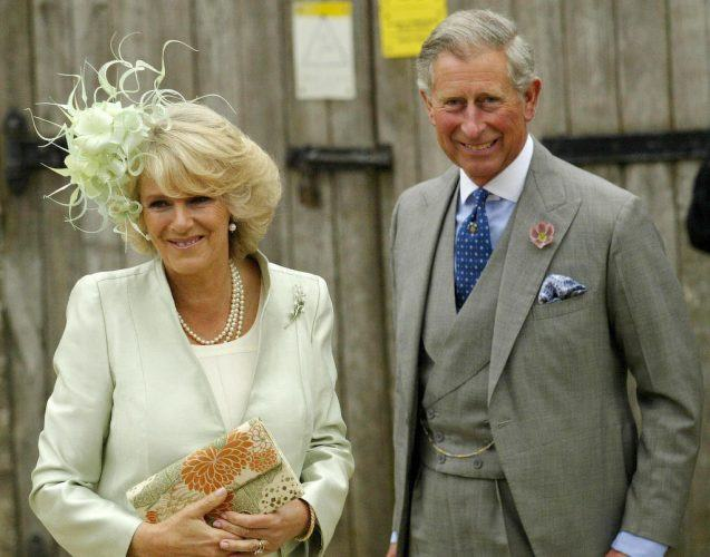 Camilla Parker-Bowles and Prince Charles arrive at Lacock Cyraiax Church.
